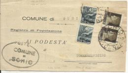 CVM87-Lettera Tariffa Ridotta Con Imperiale + Democratica 14.1.1946 - Bella - Comune Di Schio - 1944-46 Lieutenance & Humbert II