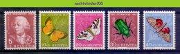 Mwe2313 FAUNA VLINDERS INSECTS PRO JUVENTUTE BEETLE BUTTERFLIES SCHMETTERLINGE MARIPOSAS PAPILLONS HELVETIA 1957 PF/MNH# - Vlinders
