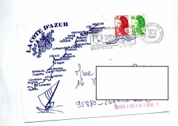 Lettre Flamme Manosque Giono Illustré Cote D'azur - Mechanical Postmarks (Advertisement)