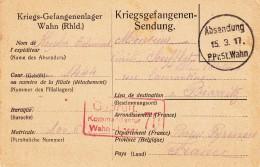Carte D´un Prisonnier De Guerre De WAHN Du 15.3.17 Avec Cachets De Censure - Marcophilie (Lettres)