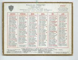 Calendrier 1937 Maurice Coutot Généalogiste à Marseille ( Bouches Du Rhône) Format 17cm X 12cm - Calendriers