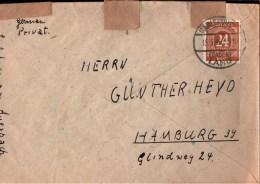 ! 1946 Beleg, Brief Mit Ziffernserie An Günther Heyd, Hamburg, Doppelt Verwendet, Karlsruhe, Auerbach - Zone AAS