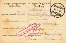 Carte D´un Prisonnier De Guerre De WAHN Du 10.5.17 Avec Cachets De Censure - Marcophilie (Lettres)