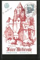 CPA Illustrateur Foire Médiévale Provins M CM XL IX, Burg - Timbres (représentations)