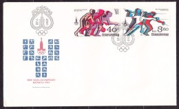 CZECHOSLOVAKIA 1980, UNUSED FDC COVERS. Michel 2547-2550. SUMMER OLYMPICS IN MOSCOW. Good Condition. See The Scans. - Verano 1980: Moscu