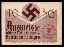 1936 Ausweis Für Aktive Teilnehmer Des Reichsparteitages, - Documenti Storici