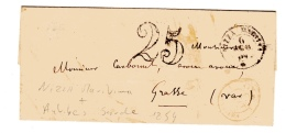 Nice Sarde (Nizza Maritta) Frontalier Pour Grasse. Taxe 25 Double Trait. Alpes Maritimes. - Postmark Collection (Covers)
