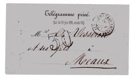 Télégramme Privé En Juillet 1871. Taxe 30 Double Trait Pour Le Trajet Château-Thierry, Aisne, Meaux. - Postmark Collection (Covers)