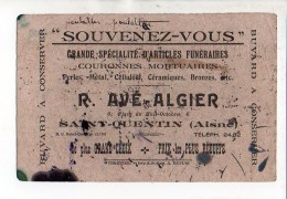 Buvard Publicitaire / Articles Funéraires R. Avé-Alger à Saint Quentin - Blotters