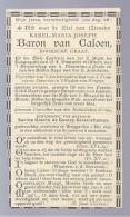 DP ADEL NOBLESSE BARON VAN CALOEN ROOMSCHE GRAAF BURGEMEESTER LOPPEM CONFRERIE H. BLOED DE GOURCY SERAINCHAMPS ° 1816 + - Images Religieuses