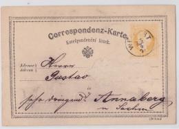 Empire Austro-hongrois Royaume De Bohême (Böhmen) Entier Postal Précurseur WEIPERT (Vejprty) - Correspondenz-Karte 1876 - 1850-1918 Empire