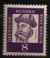 Allemagne Berlin 1961 N° 180 Iso ** Courant, Johannes Gutenberg, Imprimerie, Renaissance, Inventeur, Métal, Orfèvre - Ungebraucht