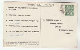 1932 BILLINGSHURST Cds Pmk COVER Postcard METEOROLOGY Report  WEATHER STATION Re THUNDERSTORM Gb Gv Stamps - 1902-1951 (Kings)