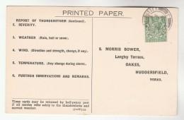 1934 BILLINGSHURST Cds Pmk COVER Postcard METEOROLOGY Report  WEATHER STATION Re THUNDERSTORM Gb Gv Stamps - Climate & Meteorology