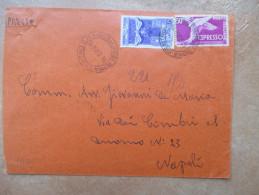 14.2.1954 Lettera ESPRESSO L.75 Espresso L.50 Piede Alato + Commemorativo L.25 Ordine Lavoro - 1946-60: Marcofilie