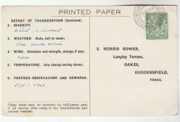1932 BILLINGSHURST Cds Pmk COVER Postcard METEOROLOGY Report  WEATHER STATION Re THUNDERSTORM Gb Gv Stamps - Climate & Meteorology