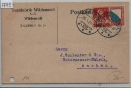 Pro Juventute 1920 J16 154 Zürich + Tellbrustbild - Karte Von Wädenswil Nach Aachen - Tuchfabrik Wädenswil AG - Lettres & Documents