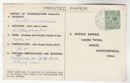 1932 KIRDFORD BILLINGSHURST COVER Postcard METEOROLOGY Report  WEATHER STATION Re THUNDERSTORM Gb  Gv Stamps - Climate & Meteorology
