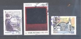 France Oblitérés (Marguerite Long - Mark Rothko - Quimperlé) (cachet Rond)