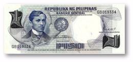 PHILIPPINES - 1 Piso ND ( 1969 ) Pick 142.b Unc. Sign. 8 Serie GB Seal Type II - Jose Rizal - Filipinas - Filipinas