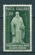 1950  GUIDO D'AREZZO  20 Lire  NUOVO - 1946-60: Nuovi