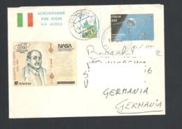 Italia - Germania 1992 Aerogramma Con Francobollo Italia Prestampato Cinderella NASA Giuseppe Colombo Viaggiata - Poste Aérienne