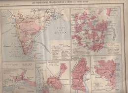 Carte Issue D´un Atlas Colonial 1890 - LES POSSESSIONS FRANÇAISES DE L INDE - Cartes Géographiques