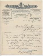 Facture - Garage De GUISE: Peugeot, Renault: GUISE Pour Chateaubriant - 1900 – 1949