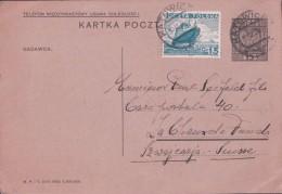 Pologne, Entier Postal + Timbre, Katowice - La Chaux-de-Fonds Suisse (30.3.36) - Stamped Stationery