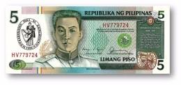PHILIPPINES - 5 Piso 1990 Commemorative Pick 178.b Unc. RED Serial # Sign. 11 Serie HV Seal Type 4 - Emilio Aguinaldo - Philippines