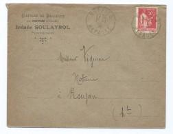 1632 - Lettre 1936 Chateau De Bellevue Par Neffiès 34 Hérault Irénée SOULAYROL Pour Roujan Type Paix Notaire - Postmark Collection (Covers)