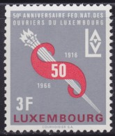 4859. Luxembourg 1966, 50 Years Of Workers' Union, MNH (**) Michel 723 - Luxembourg