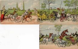 3 Cartes Parties De Puzzle Accident De Transport Voiture Calèche Vélo - Humour