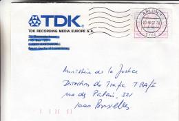Belgique - Lettre De 1997 - Oblitération Arlon 1 - Avec Vignette D´affranchissement - Postage Labels