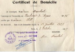 VP5482 - Guerre 39 / 45 -  Police Certificat De Domicile FOL PARIS Rue De Picpus - Police