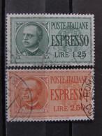 """ITALIA Regno Espressi -1932-33- """"Effigie"""" Cpl. 2 Val. US° (descrizione) - Posta Espresso"""