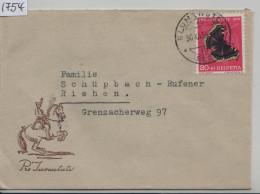 1953 Pro Juventute Briefli J150 590 Von Blumenstein Nach Riehen - Pro Juventute
