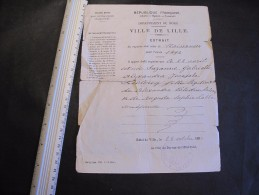 LILLE Extrait Acte De Naissance Pour Année 1894 - Le 22 Avril Est Née Suzanne LECLERCQ, Dél. à Lille Le 28/10/1894 - Documents Historiques
