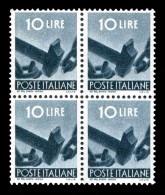 ITALIA Repubblica 1945-46 1946 Serie Democratica Quartina Lire 10 L. MNH ** Integra Blocco Block Quartine - 6. 1946-.. Republic
