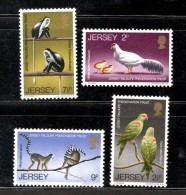 Jersey 1971 Parrot Bird Monkey Lemur Pheasant Wildlife Animal Sc 49-52 MNH # 3448 - Parrots