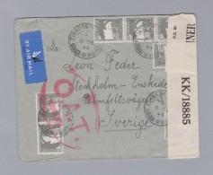 Palästina 1944-12-08 ZIKHRON O.A.T. Zensur Brief Nach Schweden - Palestine