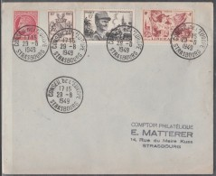 CONSEIL DE L'EUROPE 23/08/1949-BEL AFFRANCHISSEMENT AVEC 5 OBLITERATIONS-RARE!!!-VOIR LE SCAN. - Postmark Collection (Covers)
