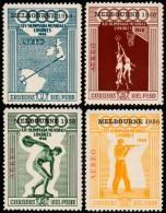 ~~~ Peru 1957 - Olympic Games Melbourne 1956 - Mi. 547/550 ** MNH ~~~ - Peru