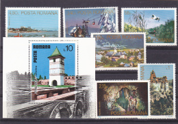 # 183  TURISM, PLACES, ROMANIA, 1978, Mi 3523/29, MNH**, FULL SET + BLOCK, ROMANIA - 1948-.... Républiques