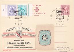 PUBLIBEL N° 1961-NF- Kasteel Lavaux Ste Anne - Beau Cachet (Spa)  + étiquette Pour L'année Internationale Du Tourisme - Publibels