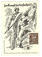 Im Kampf Um Die Freiheit - CROIX NAZIE - TAG DER BRIEFMARKE 1941 - Timbre 3 +2 - Illust. Ax Heu - Guerra 1939-45