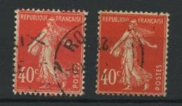 FRANCE -  40c  VERMILLON TYPE SEMEUSE TYPE I & II - N° Yvert 194 OBLI - 1906-38 Säerin, Untergrund Glatt