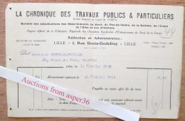 """Bulletin """"La Chronique Des Travaux Publics & Particuliers"""" Rue Denis-Godefroy, Lille 1925 - France"""