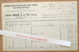 """Fabrique Nasses Métalliques Pour La Pêche, """"La Sans Rivale"""" Charles Berger, Dordives 1925 - Francia"""