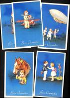 [DC3200] CPA - 5 CARTOLINE AUGURALI - BUON ONOMASTIICO - BAMBINI - FIORI - Non Viaggiata - Old Postcard - Niños